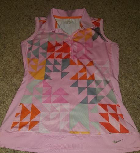 NIKE GOLF TOUR SLEEVELESS WOMENS POLO SHIRT DRI FIT DRY SMALL FIT PINK NWOT