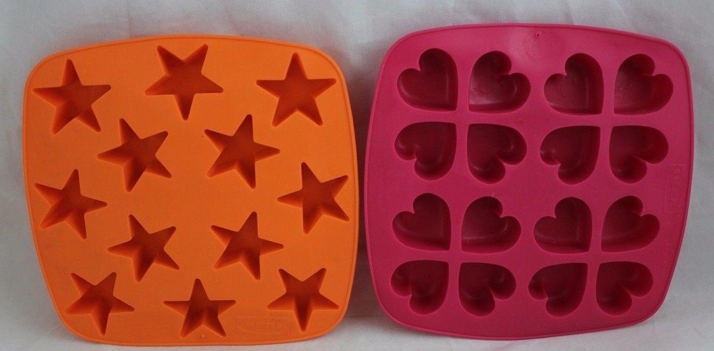 2 Ikea Silicone Flexible Rubber Star Heart Ice Cube Tray Chocolate Mold Jello