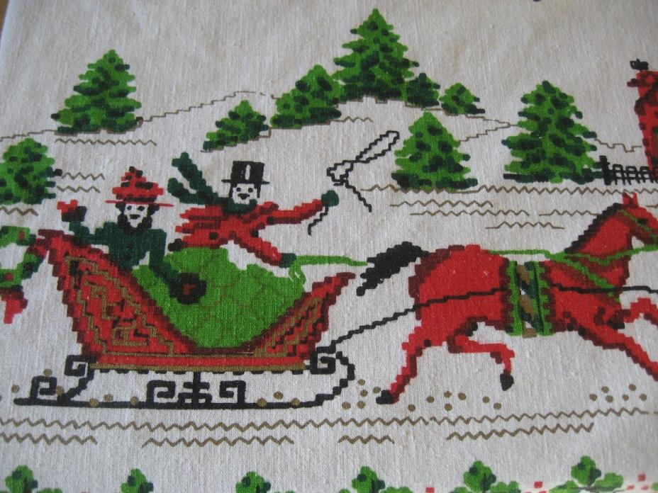VINTAGE LINEN CHRISTMAS TABLECLOTH HORSE SLEIGH CAROLERS BELLS TABLECLOTH