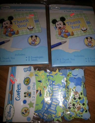 Mickey Mouse Baby Thank You Postcards envelopes Mickey Mouse Confetti Party