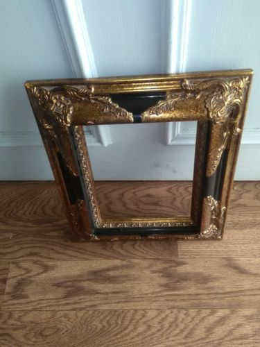 Black and gold ornate picture frame home decor Wedding..