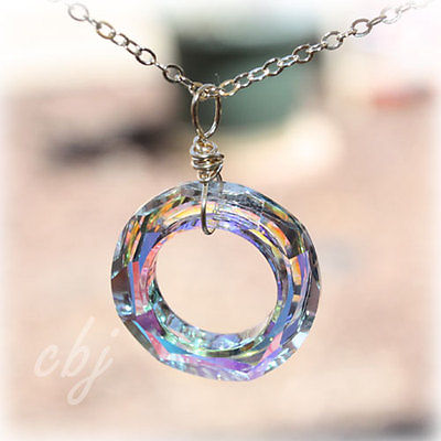 Crystal Charm, Swarovski Crystal Pendant Necklace, Ring Shaped Crystal