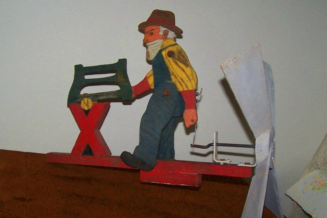 vintage Folk Art Whirly gig Antique Wood Lumberjack Sawing Log Sweet!