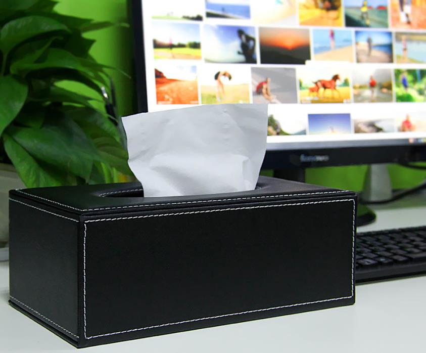Black PU Leather Tissue Box Cover Napkin Holder For Home Room Office Car Decor