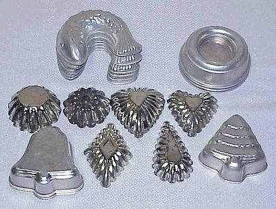 Vintage Small Tartlet, Baking or Jello Molds - Fish, Bells, Tree, Round