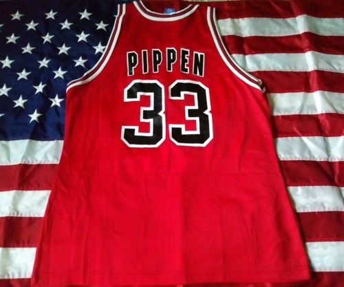 scottie pippen champion jersey size 48 chicago bulls red vtg 90s vintage supreme