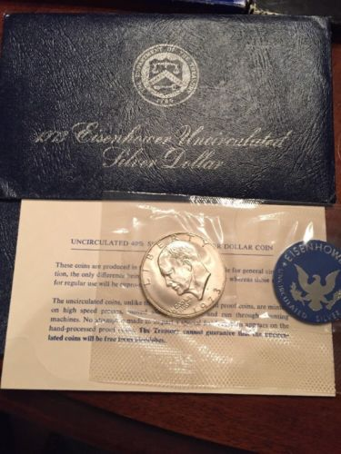 1973 eisenhower uncirculated silver dollar Blue Envelope
