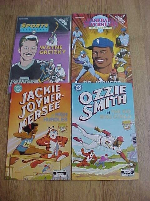 Lot of 4 SPORTS COMIC BOOKS BO JACKSON -WAYNE GRETZKY - OZZIE SMITH  + MORE