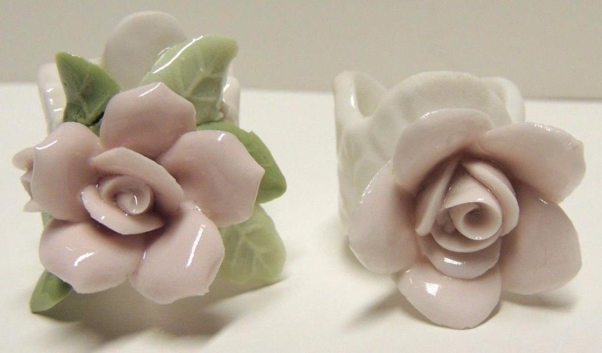 Vntg ROSE Porcelain Napkin Rings - 2 Pink White Green Rose Napkin Rings - Japan