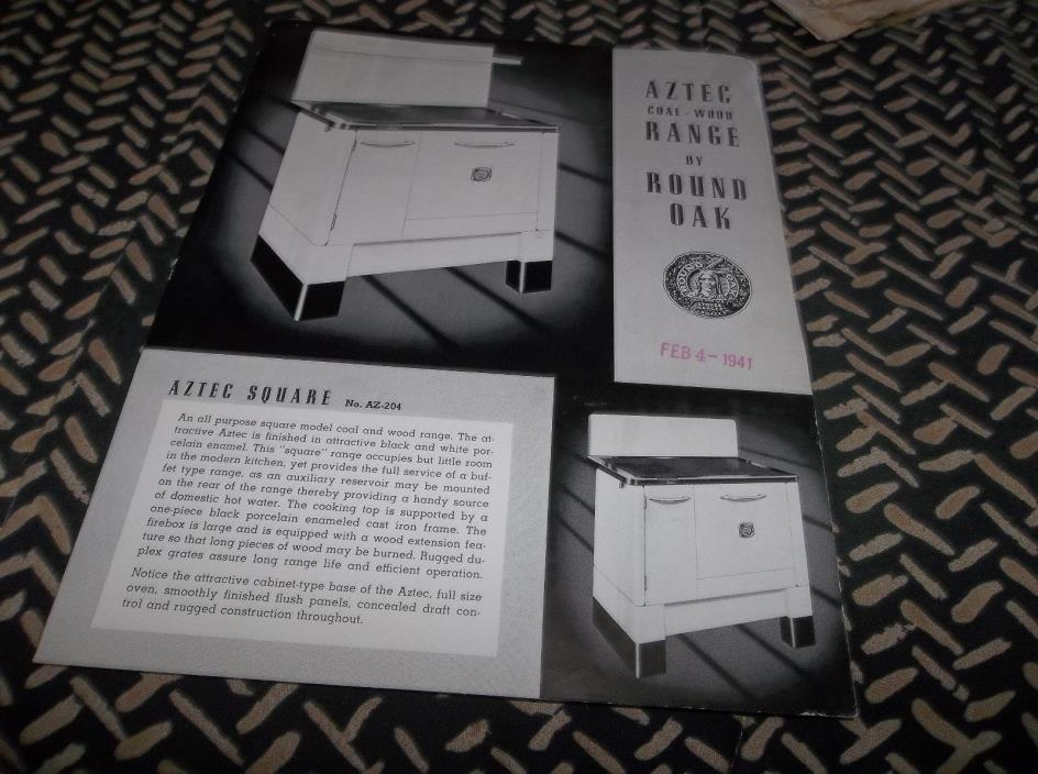Vtg 1941 Round Oak Aztec Square Range Stove Illustrated Advertising Sheet