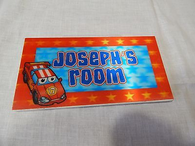 Joseph's Room Boy's SIGN Door Hanging Child's Home Decor Race Car Red #17 3d