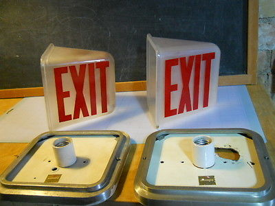 Vintage Glass Kopp Wall Mount Exit Sign - Theater Light  - 2-Sided