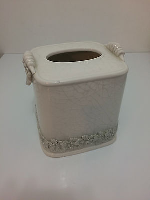 White Gray  Porcelain Tissue Box Cover  Kleenex Holder Leaf  Design Antique Look