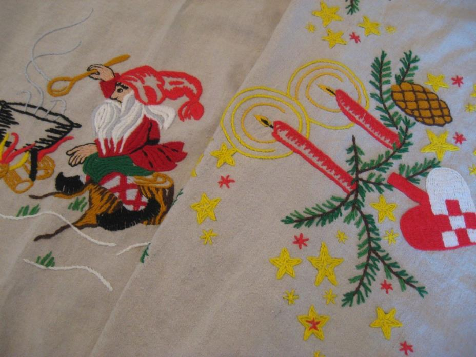 VINTAGE LINEN CHRISTMAS SANTA TABLECLOTH GERMAN HAND EMBROIDERED TABLECLOTH