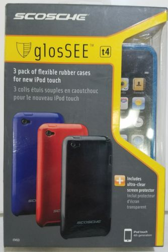NEW SCOSCHE GLOSSEE 3-PACK TPU SKINS AND SCREEN PROTECTOR FOR IPOD TOUCH 4G
