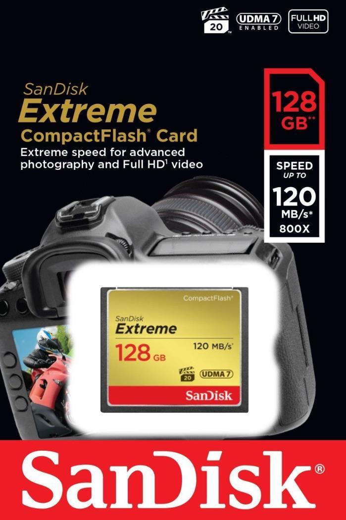 Sandisk 32GB 64GB 128GB Compact Flash Extreme R120MB/s W85MB/s SDCFXSB