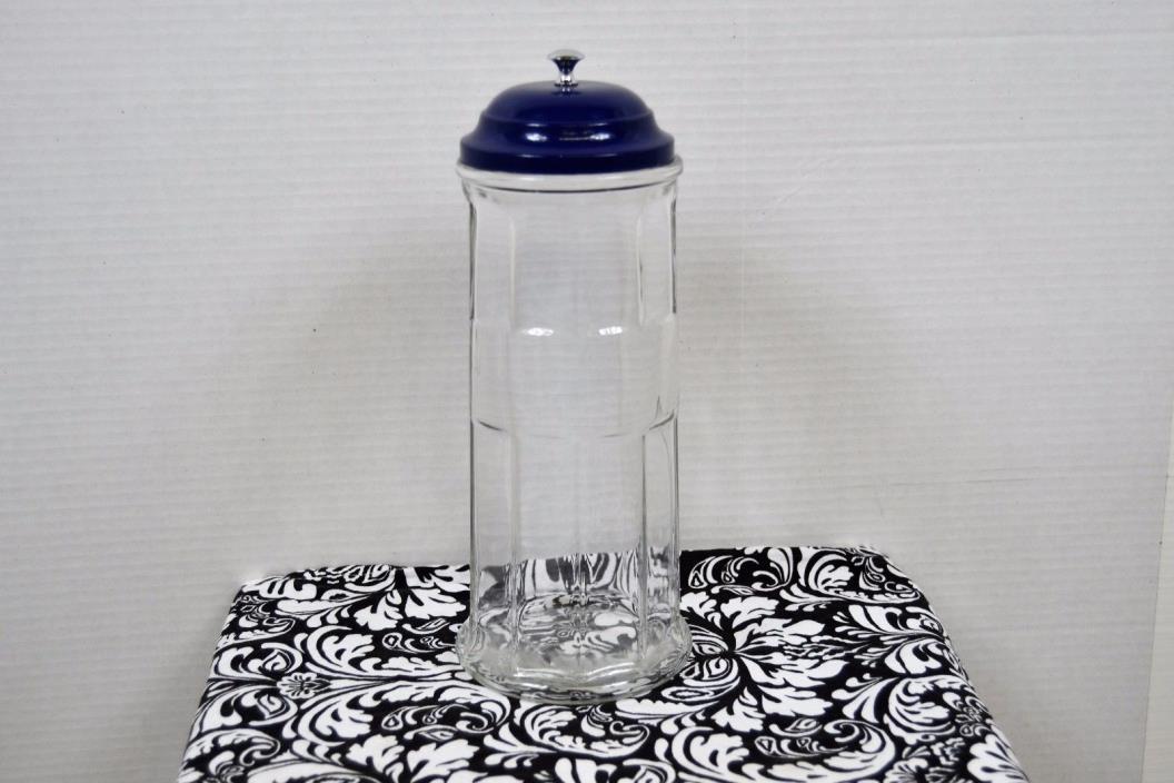 Vintage GEMCO Paneled Glass Straw Holder Dispenser Blue Lid No Basket