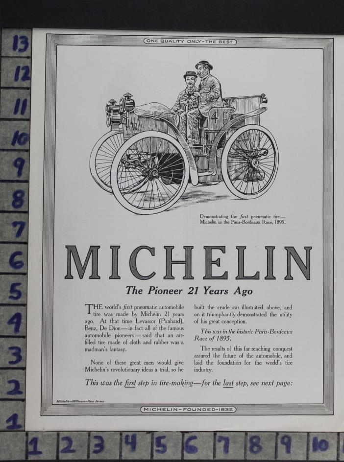 1916 AUTOMOTIVE TIRES MICHELIN PARIS BORDEAX LEVASSOR BENZ VINTAGE AD DS48