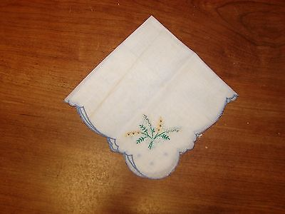 vintage handkie blue embroidery handkerchief linen hankie old collectible floral