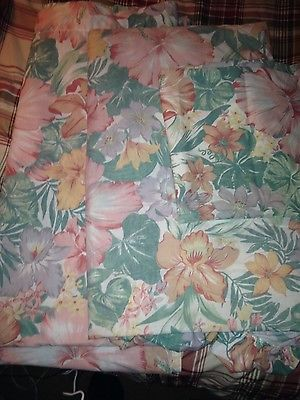 vintage pink floral queen size sheet set