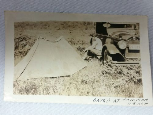 1920s Photo Car Camping at Hampton Beach Unknown Car