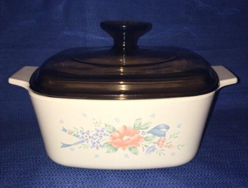 Vintage CorningWare Beige Symphony 1.5 Quart Casserole Baking Dish A-1 1/2-B Lid