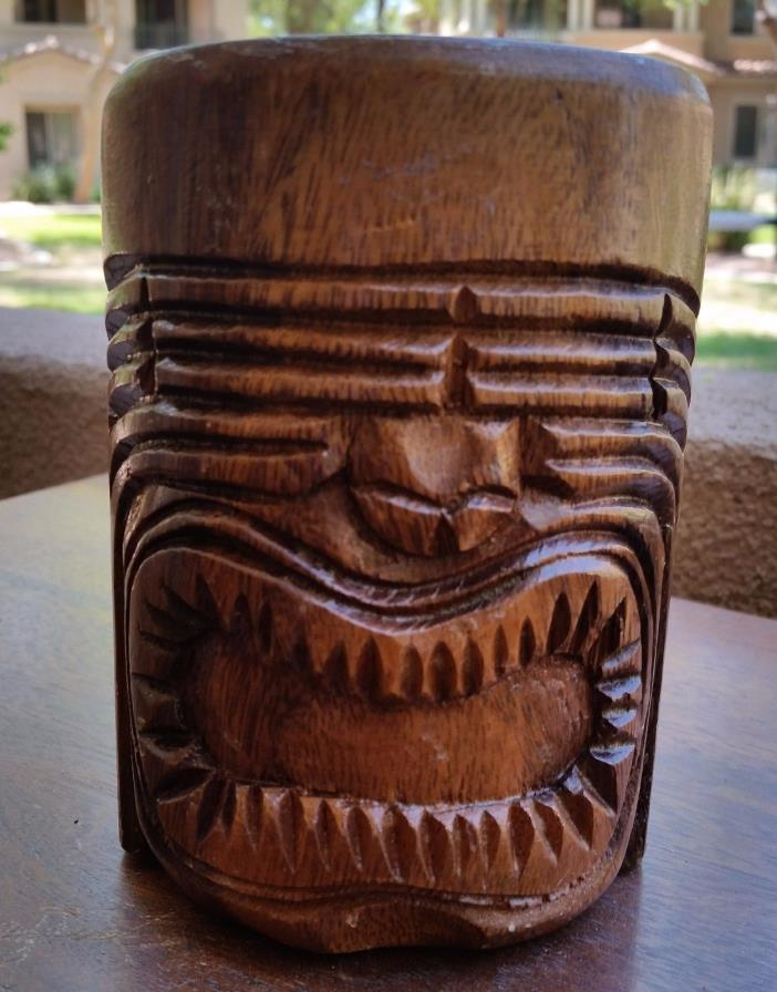 Genuine Mid Century Hawaii Hand Carved Monkey Pod Wood Cup Tiki Bar, Tribal Mug