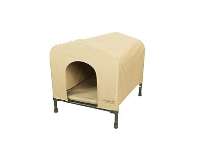 PortablePET HoundHouse Khaki Collapsible Dog Pet House Bed Elevated Kennel LRG.