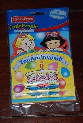 VINTAGE LITTLE PEOPLE BIRTHDAY PARTY INVITES PACK OF 8