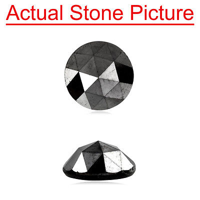 New 8.92-8.84x4.14 mm AA Round Rose Cut Loose Treated Fancy Black Diamond
