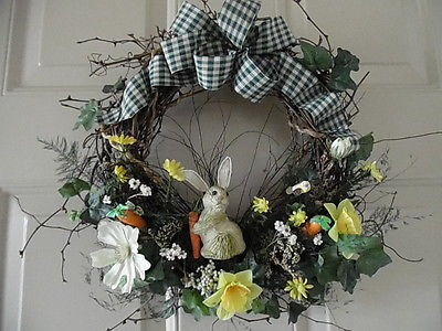 SPRING/SUMMER FLORAL WREATH WITH BUNNY & BIRD, 14