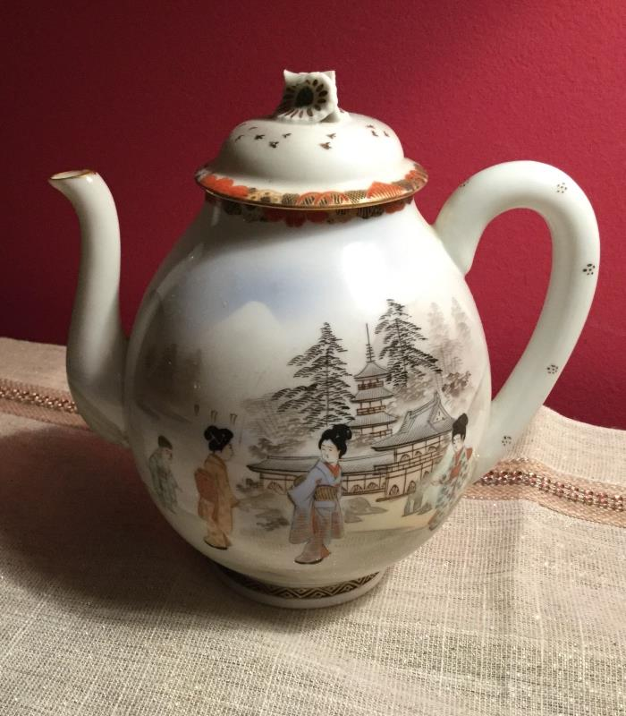 Antique Japanese Egg Shell Hand Painted Teapot