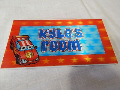 kyle's Room Boy's SIGN Door Hanging Child's Home Decor Race Car Red #17 3d