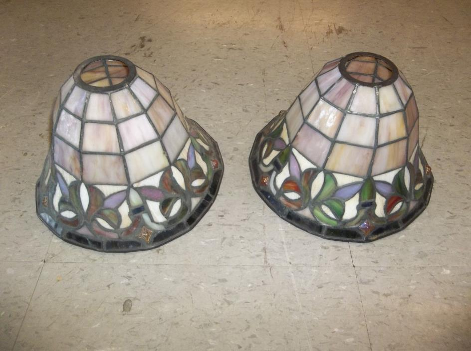 VINTAGE VICTORIAN STAINED GLASS LAMP SHADES CARNIVAL GLASS INSERTS