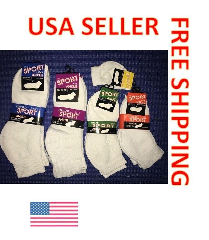 White Ankle Socks Mens/Womens/Kids/Toddler 3 Pack Or 12 Pack..Quality Socks