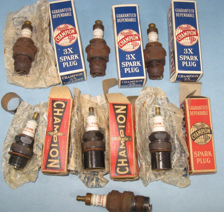 7 Early Champion  Spark Plugs Some NOS Tractor Hit & Miss Gas Engine