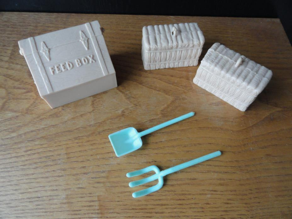 Vintage Feed Box Straw Bales Shovel and Pitch Fork Farm Toys Plastic Replacement