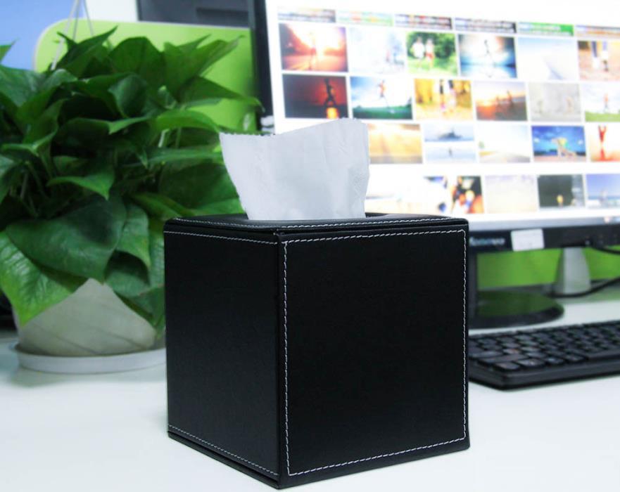 Black PU Leather Tissue Box Cover Home Office Desk Car Decor Napkin Case Cover