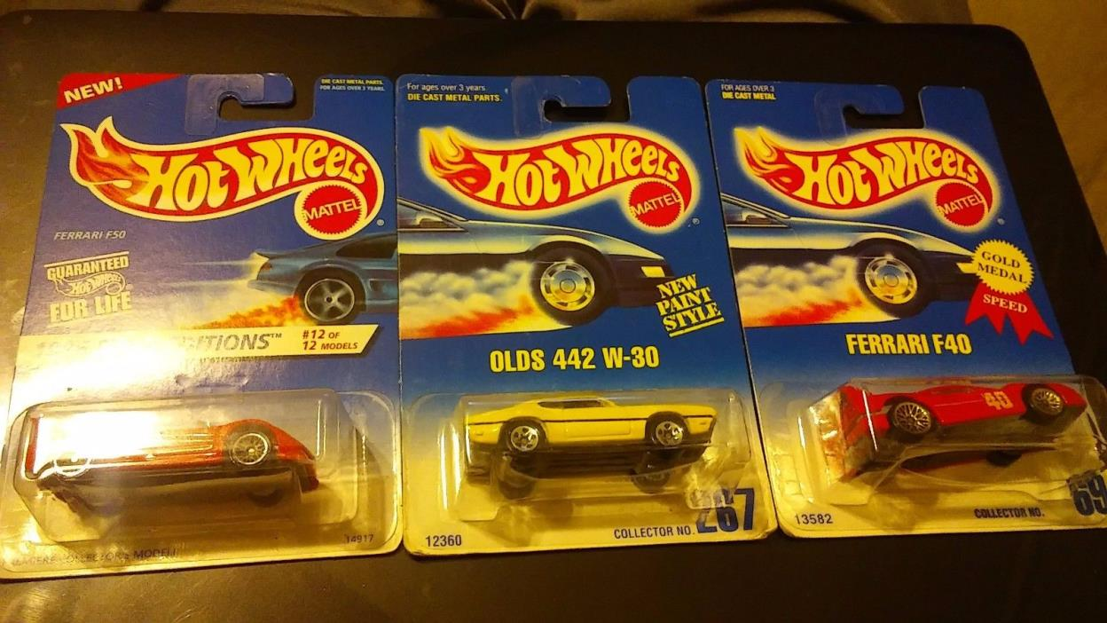 3 Hotwheels 1991 #69 Ferrari F40 and #267 Olds 442 and 1996 First Edition #377