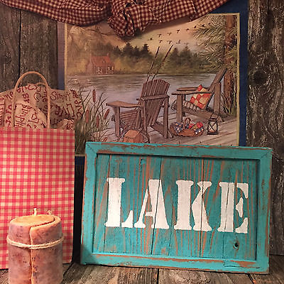 LAKE Sign Fishing Cabin Beach Bar Pub Man Cave Country Wood Wall Art Home Decor