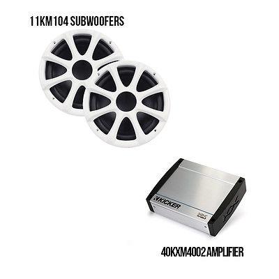 Kicker Marine Bundle with 40KXM4002 Amplifier + (2)11KM104W Subwoofers