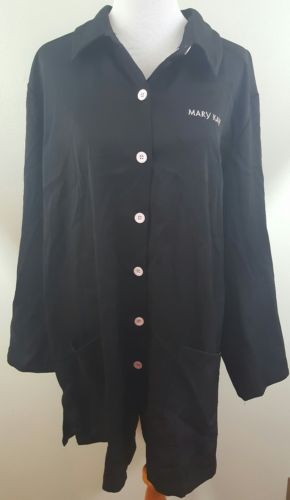 Mary Kay Women's Plus Size 2X Black Coat Jacket Smock Cover Up Trim Pink Logo B2