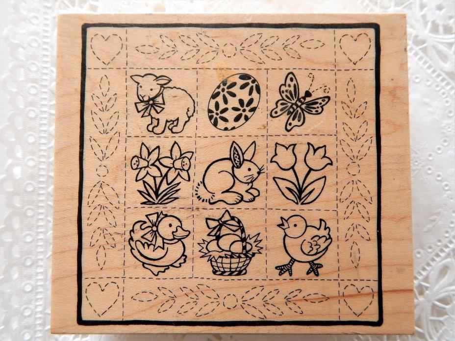 Easter Tile PSX Rubber Stamp K-2306 Quilt Square Bunny Duck Lamb Egg UNINKED d