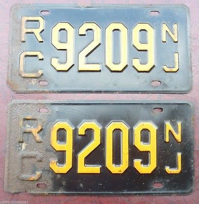 Old RC 9209 NJ NEW JERSEY License Plates Pair embossed metal auto truck gas oil