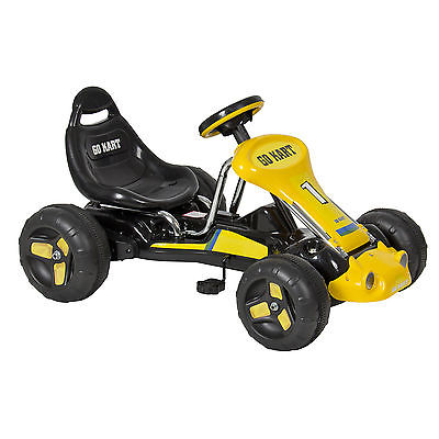 Go Kart 4 Wheel Kids Ride on Car Stealth Pedal Powered Outdoor Racer Blk/Yellow