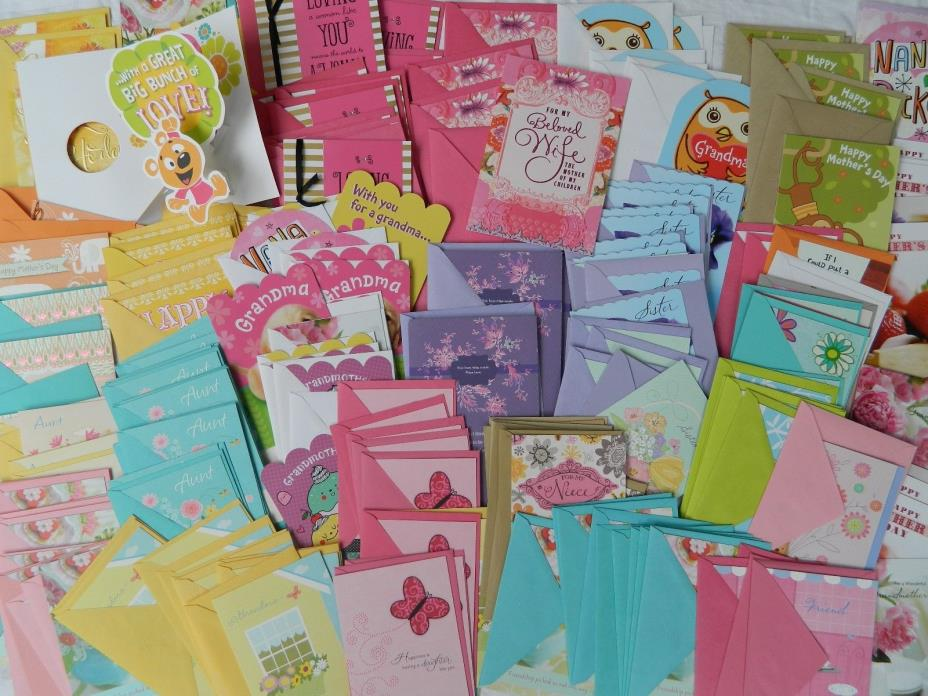Wholesale Lot 200+ New MOTHERS DAY Hallmark CARDS ENVELOPES Mom,Relative,Friend