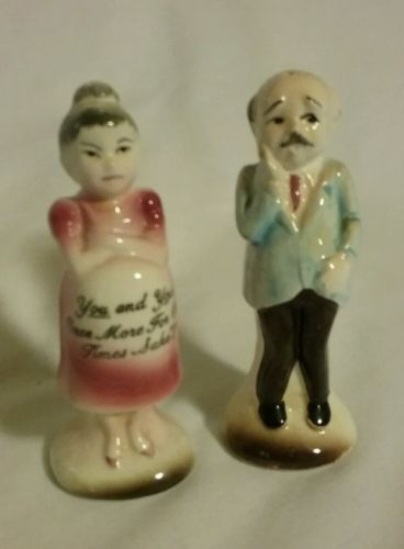 VINTAGE OLD MAN AND PREGNANT WOMAN SALT & PEPPER - JAPAN