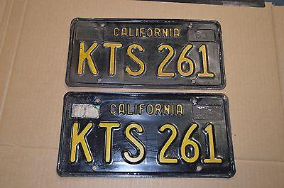 Original Paint Pair 1963 63 - 69 California CA YOM Black License Plates KTS 261