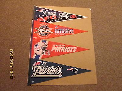 NFL New England Patriots Vintage Lot of 4 Logo Football Pennants