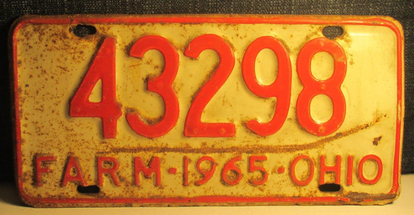 1965 OHIO Farm License Plate 42398